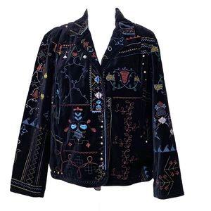 Chico's Velvet Embroidered Jacket Brass Studs Snap